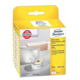 Rücksendeadress-Etiketten 25x54mm weiß permanent Zweckform AS0722520 (PACK=500 STÜCK) Produktbild