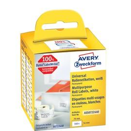 Universal-Etiketten 54x70mm weiß permanent Zweckform ASS0722440 (PACK=160 STÜCK) Produktbild
