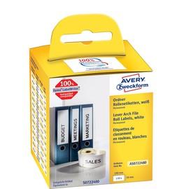 Ordner-Etiketten breit 59x190mm weiß permanent Zweckform AS0722480 (PACK=110 STÜCK) Produktbild