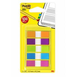 Haftstreifen Post-it Index Mini 11,9x43,2mm 5 Leuchtfarben transparent 3M 683-5CB2 (PACK=5x 20 STÜCK) Produktbild