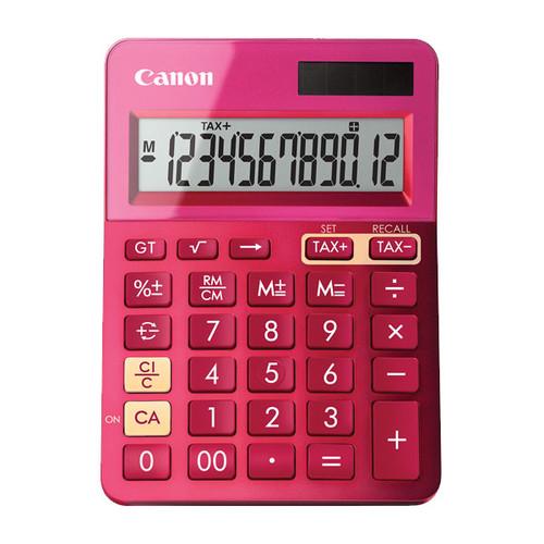 Taschenrechner 12-stelliges Display 145x104x25mm pink Solar-/ Batteriebetrieb Canon LS-123 K MPK Produktbild Front View L