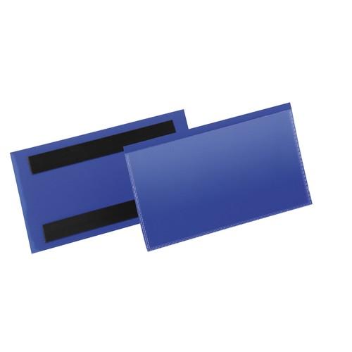 Etikettentaschen 150x67mm dunkelblau magnetisch Durable 1742-07 (PACK=50 STÜCK) Produktbild Front View L
