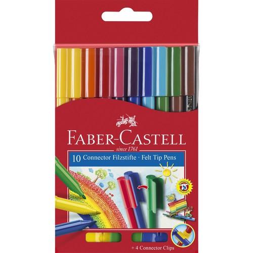 Fasermaler CONNECTOR Pen sortiert Faber Castell 155510 (PACK=10 STÜCK) Produktbild Front View L