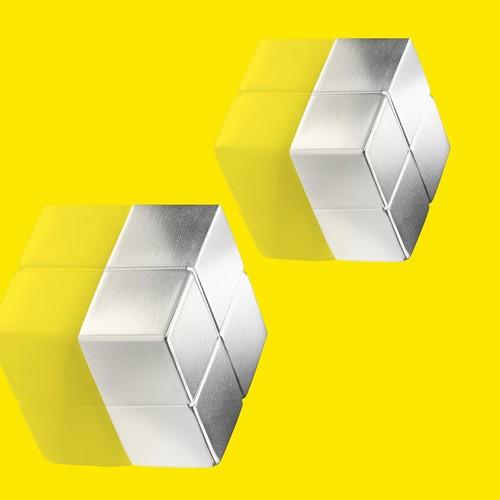 SuperDym-Magnet-Würfel C10 artverum Cube-Design 20x10x20mm silber vernickelt extra stark Sigel GL704 (PACK=2 STÜCK) Produktbild Additional View 5 L
