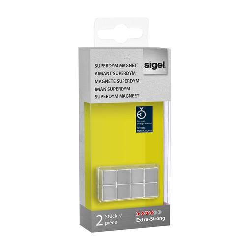 SuperDym-Magnet-Würfel C10 artverum Cube-Design 20x10x20mm silber vernickelt extra stark Sigel GL704 (PACK=2 STÜCK) Produktbild Additional View 3 L