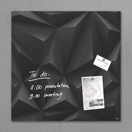 Glas-Magnetboard artverum 480x480x15mm Black Diamond inkl. Magnete Sigel GL257 Produktbild