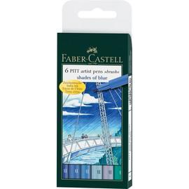Tuschestifte PITT ARTIST PEN BRUSH Etui B Blue farbig sortiert Faber Castell 167164 (ETUI=6 STÜCK) Produktbild
