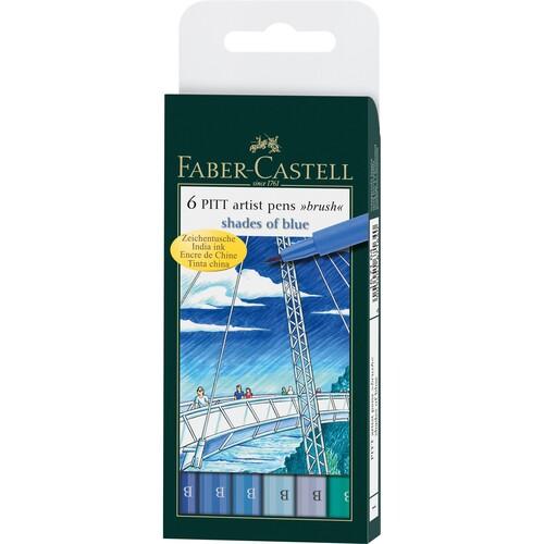 Tuschestifte PITT ARTIST PEN BRUSH Etui B Blue farbig sortiert Faber Castell 167164 (ETUI=6 STÜCK) Produktbild Front View L