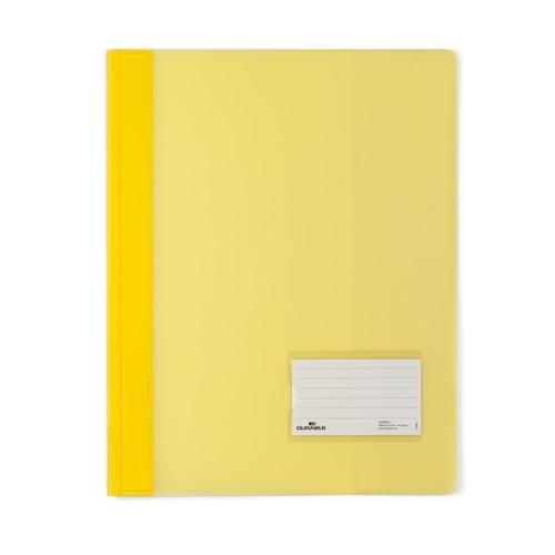 Schnellhefter Duralux transluzent mit Beschriftungsfenster und Innentasche A4 überbreit gelb Durable 2680-04 Produktbild Front View L