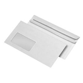 Kuvertierhülle nassklebend weiß 75g/m2 DIN lang+ 114x229mm / mit Fenster / mit außenliegender Seitenklappe (PACK=1000 STÜCK) Produktbild