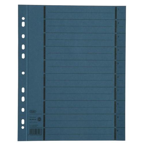 Trennblätter mit abtrennbaren Taben A4 240x300mm blau vollfarbig 250g Karton Elba 400004665 (PACK=100 STÜCK) Produktbild