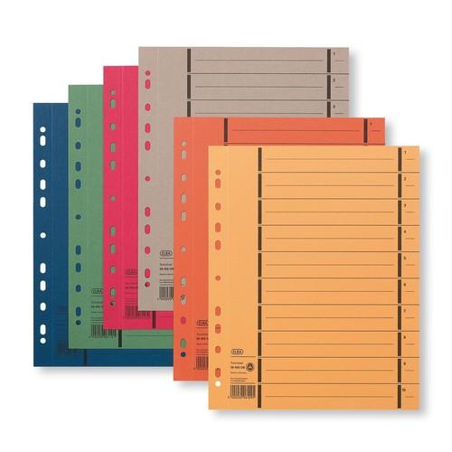 Trennblätter mit abtrennbaren Taben A4 240x300mm blau vollfarbig 250g Karton Elba 400004665 (PACK=100 STÜCK) Produktbild Additional View 1 L