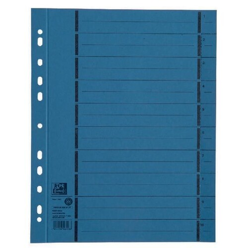 Trennblätter Oxford A4 blau 250g vollfarbig Karton 240x300mm mit perforierten Taben 400004665 (PACK=100 STÜCK) Produktbild Front View L