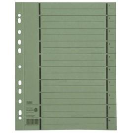 Trennblätter mit abtrennbaren Taben A4 240x300mm grün vollfarbig 250g Karton Elba 400004667 (PACK=100 STÜCK) Produktbild