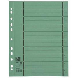 Trennblätter Oxford A4 grün 250g vollfarbig Karton 240x300 mit perforierten Taben 400004667 (PACK=100 STÜCK) Produktbild