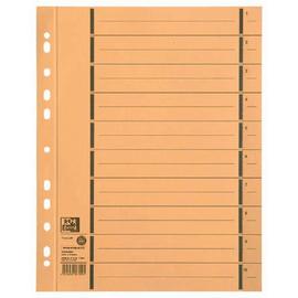 Trennblätter Oxford A4 gelb 250g vollfarbig Karton 240x300mm mit perforierten Taben 400004666 (PACK=100 STÜCK) Produktbild