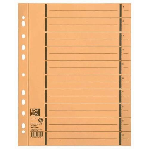 Trennblätter Oxford A4 gelb 250g vollfarbig Karton 240x300mm mit perforierten Taben 400004666 (PACK=100 STÜCK) Produktbild Front View L