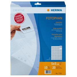 Diahüllen Fotophan für 20 Dias 5x5cm mit Sicherungslasche klar PP 243x301mm Herma 7701 (PACK=10 STÜCK) Produktbild