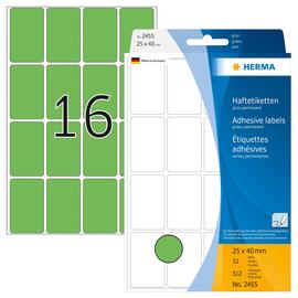 Vielzweck-Etiketten für Handbeschriftung 25x40mm grün Herma 2455 (PACK=512 STÜCK) Produktbild