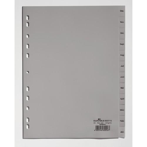 Register A4 297x215/230mm Dez.-Jan. 12-teilig grau Plastik Durable 6507-10 Produktbild Front View L