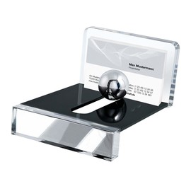 Visitenkartenhalter Acryl Exclusiv 12,8x10x6,8cm glasklar/schwarz Acryl Wedo 601401 Produktbild