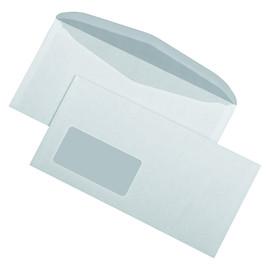 Kuvertierhülle mit Fenster 125x229mm außenl. Seitenklappe nassk. 1PACK=1000ST weiß 75g (PACK=1000 STÜCK) Produktbild
