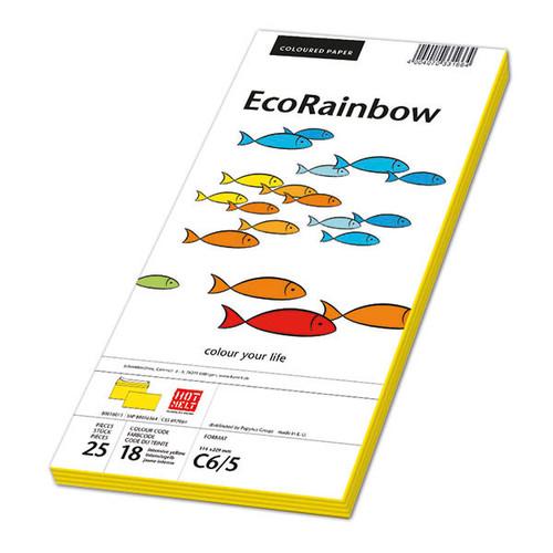 Briefumschlag RAINBOW ohne Fenster 114x229mm Haftklebung 80g intensivgelb (PACK=250 STÜCK) Produktbild Front View L