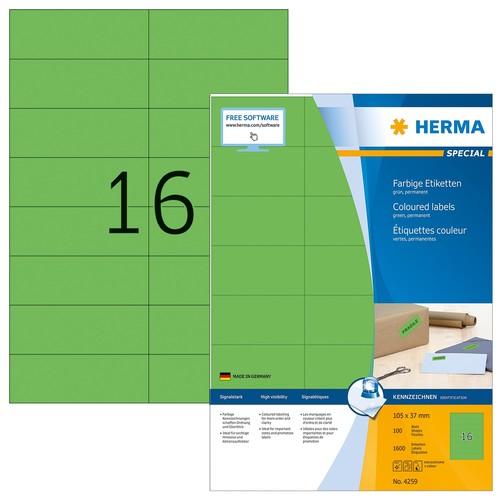 Etiketten Ink Jet+Laser+Kopier 105x37mm auf A4 Bögen grün permanent Herma 4259 (PACK=1600 STÜCK) Produktbild