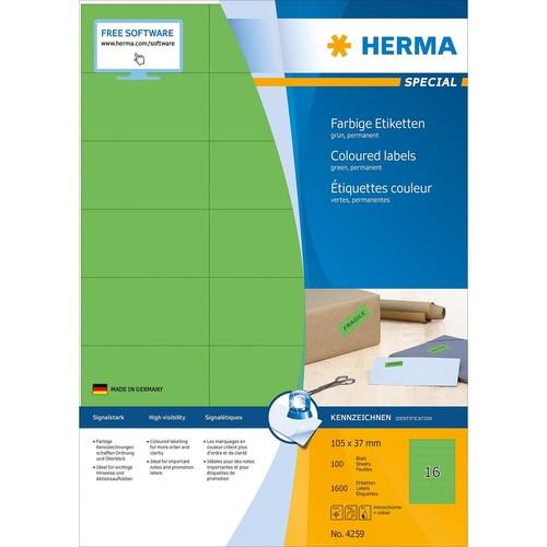 Etiketten Ink Jet+Laser+Kopier 105x37mm auf A4 Bögen grün permanent Herma 4259 (PACK=1600 STÜCK) Produktbild Additional View 1 L