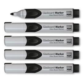 Glasboard-Marker artverum 2-3mm Rundspitze schwarz abwischbar Sigel GL710 (PACK=5 STÜCK) Produktbild