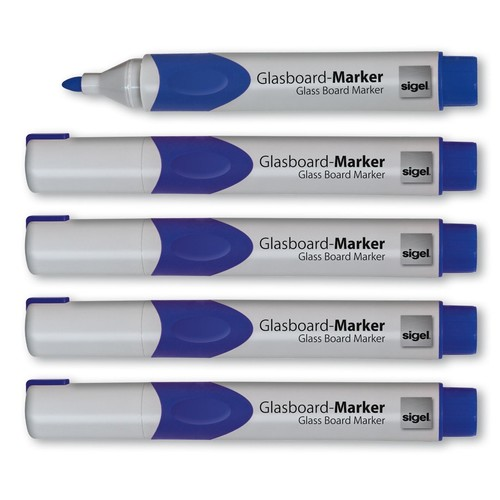 Glasboard-Marker artverum 2-3mm Rundspitze blau abwischbar Sigel GL712 (PACK=5 STÜCK) Produktbild