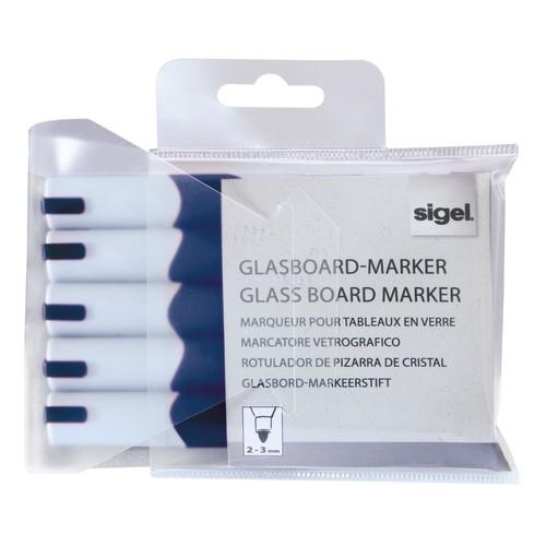 Glasboard-Marker artverum 2-3mm Rundspitze blau abwischbar Sigel GL712 (PACK=5 STÜCK) Produktbild Additional View 1 L