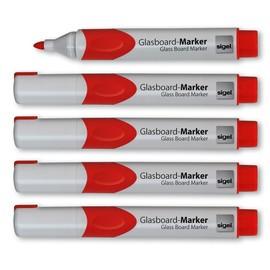 Glasboard-Marker artverum 2-3mm Rundspitze rot abwischbar Sigel GL713 (PACK=5 STÜCK) Produktbild
