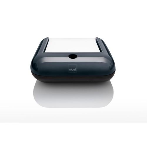 Haftnotizbox eyestyle mit Stiftehalter + Haftnotizen dunkelgrau/schwarz Kunststoff-Acryl Sigel SA162 Produktbild