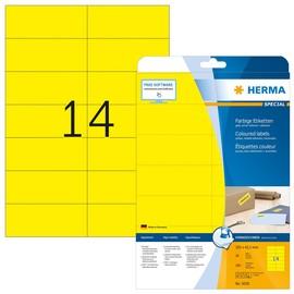 Etiketten Inkjet+Laser+Kopier 105x42,3mm auf A4 Bögen matt gelb ablösbar Herma 5058 (PACK=280 STÜCK) Produktbild