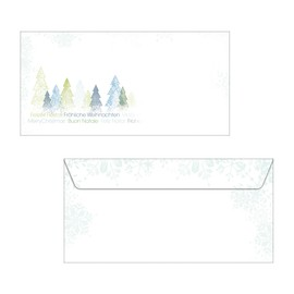 Weihnachts-Briefumschläge DIN lang 90g Trees gummiert Sigel DU090 (PACK=25 STÜCK) Produktbild