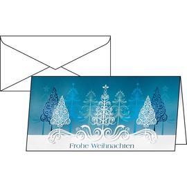 Weihnachts-Faltkarten inkl. Umschläge DIN lang 220g Blue Trees Sigel DS030 #(PACK= JE 10 STÜCK) Produktbild