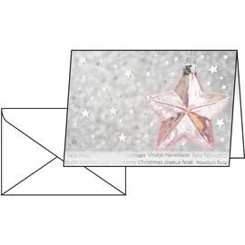 Weihnachts-Faltkarten inkl. Umschläge A6 220g Rose Star Sigel DS031 (PACK= JE 10 STÜCK) Produktbild