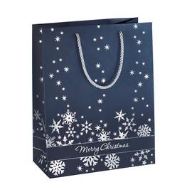 Weihnachts-Tragetasche 26x33x12,5cm Silver Snowflakes silber Prägung Sigel GT110 Produktbild