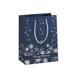 Weihnachts-Tragetasche 17,5x23x10cm Silver Snowflakes silber Prägung Sigel GT111 (PACK=3 STÜCK) Produktbild