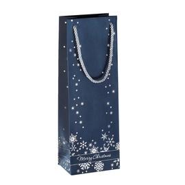 Weihnachts-Tragetasche 12,5x36x8,5cm Silver Snowflakes silber Prägung Sigel GT112 (PACK=3 STÜCK) Produktbild
