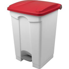 Tretabfallbehälter mit Deckel 45l weiß/rot Helit H2402125 Produktbild