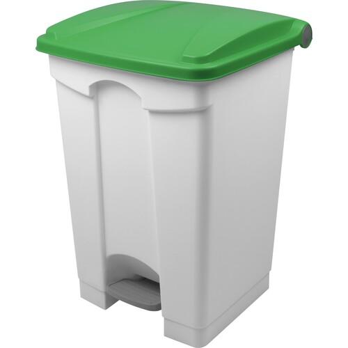 Tretabfallbehälter mit Deckel 45l weiß/grün Helit H2402151 Produktbild Front View L