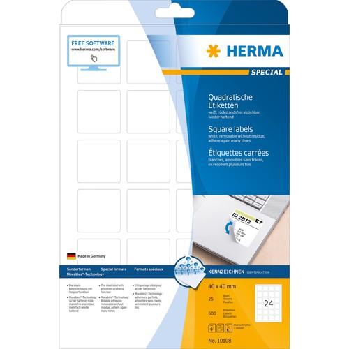 Etiketten Inkjet+Laser+Kopier 40x40mm auf A4 Bögen Movables weiß wiederablösbar Herma 10108 (PACK=25 STÜCK) Produktbild Additional View 1 L