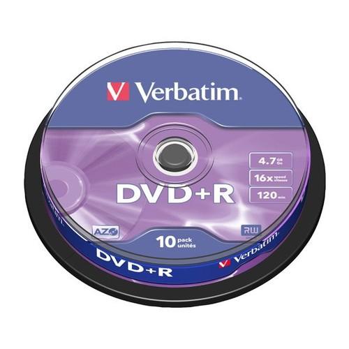 DVD+R DataLife Plus 16fach Cakebox 4,7GB/120Min. Verbatim 43498 (PACK=10 STÜCK) Produktbild Front View L
