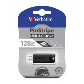 USB Stick 3.0 PinStripe 128GB schwarz Verbatim 49319 Produktbild