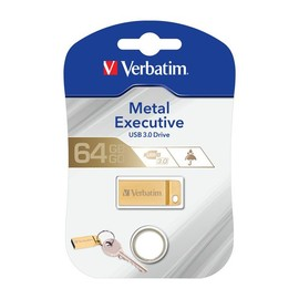 USB Stick 3.0 Metal Executive 64GB 80MB/s gold Verbatim 99106 Produktbild