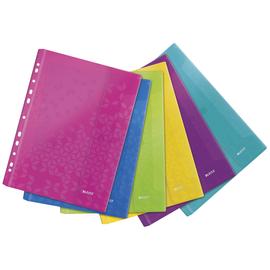 Prospekthülle WOW mit Klappe A4 200µ farbig sortiert PP genarbt Leitz 4707-00-99 (PACK=6 STÜCK) Produktbild