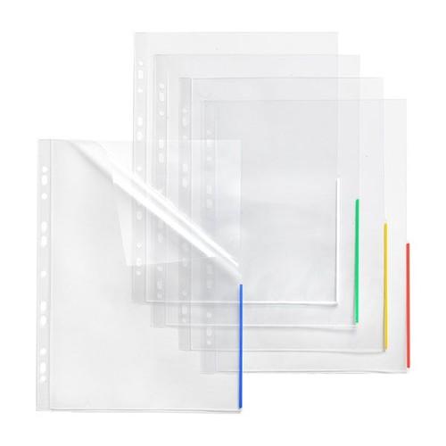Prospekthülle oben + halbseitig rechts offen A4 Überbreite 310x235/217mm transparent/grün PP Folder Sys 45 325 (PACK=10 STÜCK) Produktbild Front View L