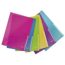 Sichthülle WOW oben + rechts offen A4 200µ farbig sortiert PP genarbt Leitz 4050-00-99 (PACK=6 STÜCK) Produktbild
